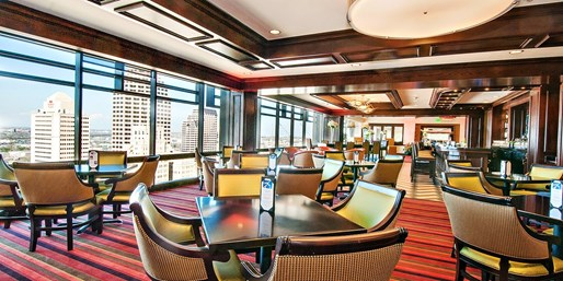 $40 -- Plaza Club: 21st-Floor Dinner for 2 w/City Views