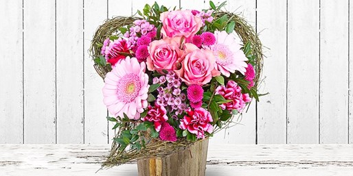 Blumengrüße zum Valentinstag versenden, 8 € sparen