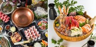 ¥358 -- 鳌虾牡丹虾雪蟹海胆畅吃 百种空运食材 江景餐厅橘钬日料+铁板+锅物套餐 另¥238锅物自助