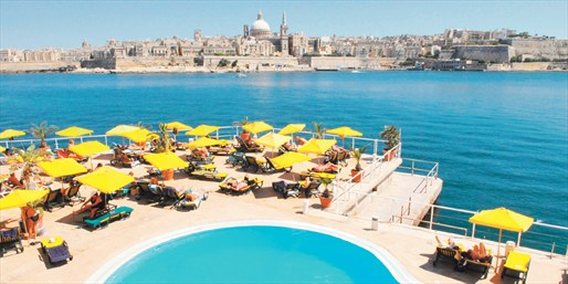 Hotel Fortina's pool, overlooking Valletta