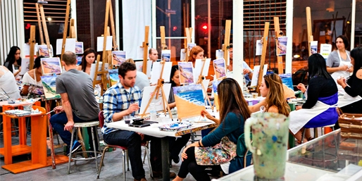 $29 -- Santa Monica: Painting Class w/Wine & Apps, Reg. $67