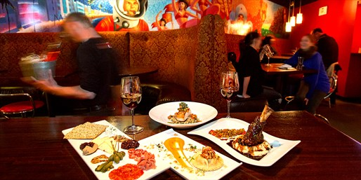 $49 -- 'Excellent' Red Square Dinner for 2 w/Drinks, 50% Off