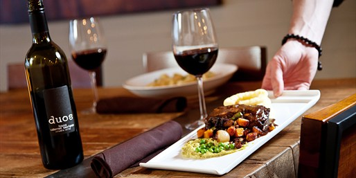 $39 & up -- Duos Lounge: Brunch or Dinner for 2 w/Drinks