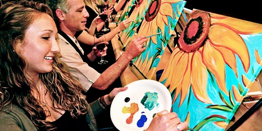 $25 & up -- Painting & Vino: Guided Classes for 1 or 2