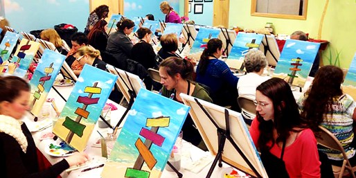Wine & Canvas: Save 30% on Painting Classes thru Summer