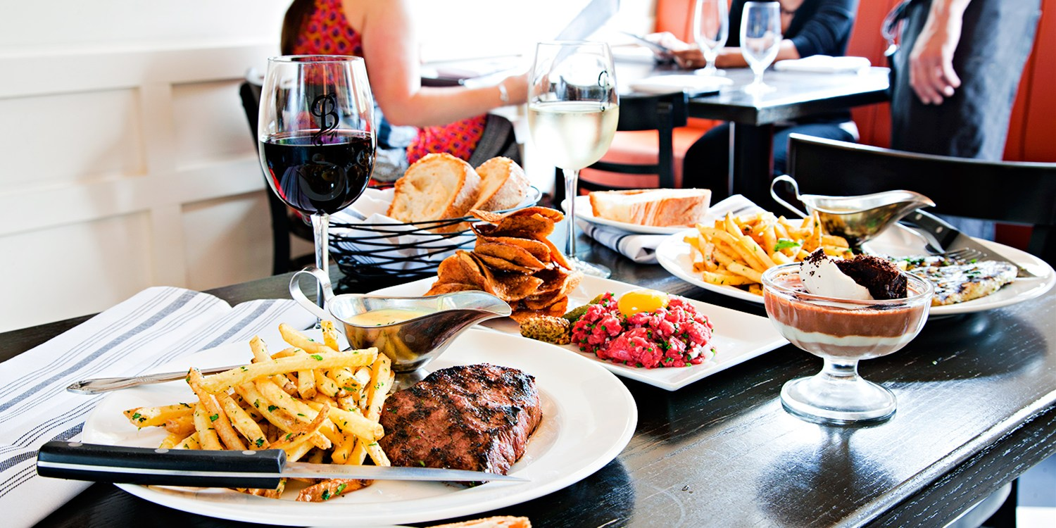 $75 -- Top-Rated Steak Frites Dinner for 2 w/Wine, 40% Off