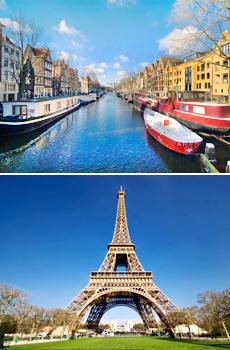 Top: Amsterdam<br>Bottom: Paris