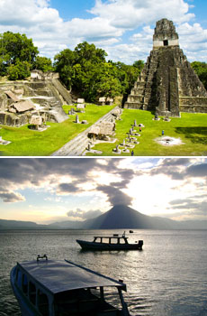 Top: Tikal<br>Bottom: Lake Atitlan<br>