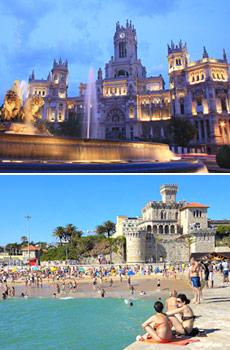Top: Madrid<br>Bottom: Lisbon Coast, Portugal