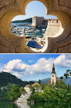 Above: Dubrovnik <br>Below:  Lake Bled<br>