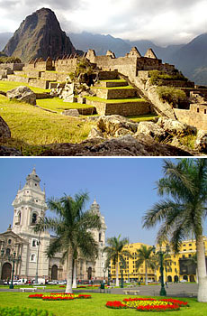 Top: Machu Picchu <br>Bottom: Lima<br>