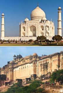 Top Photo: Taj Mahal, New Delhi, India<br>Bottom Photo: Amber Fort, Jaipur <br>