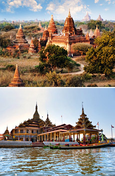 Top: Bagan<br>Bottom: Inle Lake