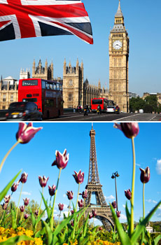 Top: Big Ben in London<br>Bottom: Eiffel Tower in Paris