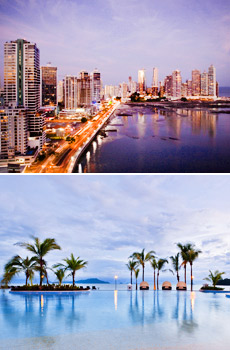Top: Panama City<br>Bottom: The Westin Playa Bonita