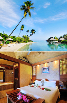 Top: InterContinental Moorea<br>Bottom: Room at InterContinental Moorea