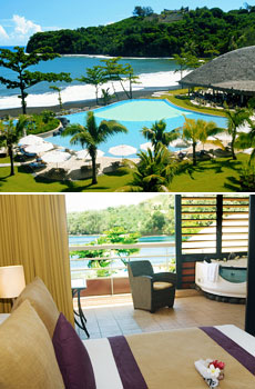 Top: Pool at Radisson Plaza Resort <br>Bottom: Oceanview room at Radisson Plaza Resort