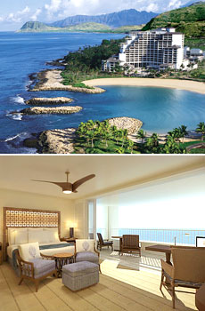 Top: View of the resort <br>Bottom: Renovated ocean view room