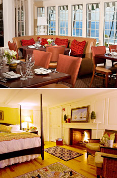 Top: Restaurant<br>Bottom: Luxury room with fireplace