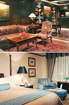 Top: Lobby<br>Bottom: Deluxe King room