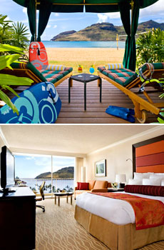 Top: Kalapaki Beach<br>Bottom: Oceanview room