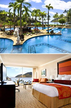 Top: Pool area<br>Bottom: Oceanview room