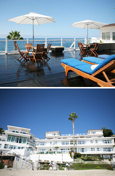 Top: Upper lounge deck<br>Bottom: Hotel exterior