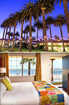 Top: Hotel exterior<br>Bottom: Ocean view room
