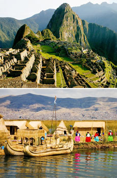 Top: Machu Picchu<br>Bottom: Lake Titicaca