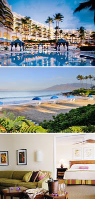 Top: Adult pool<br>Middle: Polo Beach<br>Bottom: 840-square-foot suite