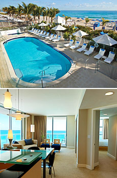 Top: Beachside Pool<br>Bottom: Upgraded One-Bedroom Suite