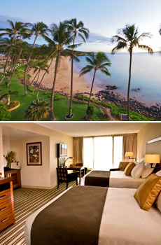 Top: Kamaole Beach Park<br>Bottom: Deluxe room