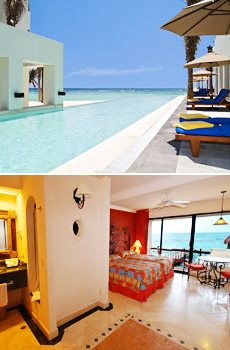Top: Infinity Pool<br>Bottom: Guestroom