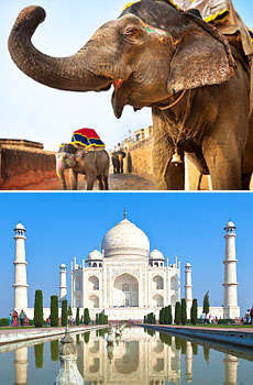 Bottom: The Taj Mahal, Agra