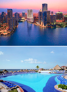 Arriba: Miami<br>Abajo: Moon Palace Golf & Spa Resort