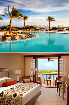Top: Pool<br>Bottom: Premier Water View room