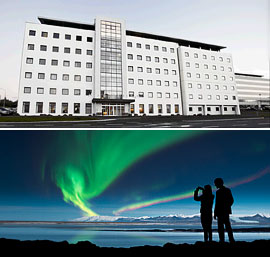 Top: Hotel Cabin<br>Bottom: The Northern Lights