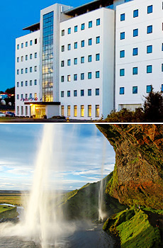 Top: Hotel Cabin<br>Bottom: Seljalandsfoss waterfall