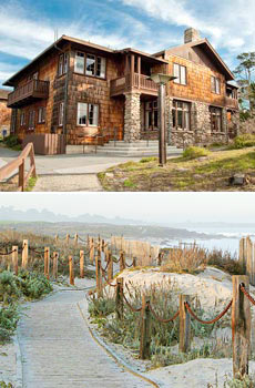 Top: Hotel exterior<br>Bottom: Asilomar State Beach