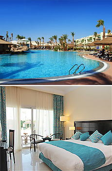 Top: Pool at the Sierra Hotel<br>Bottom: Deluxe Room