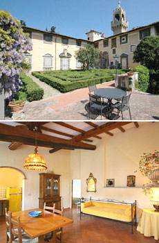 Top: Montegufoni exterior<br>Bottom: Guesthouse
