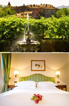 Top: Il Borro estate<br>Bottom: Medieval Village guest room