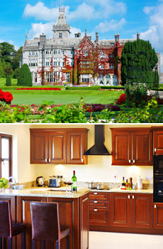 Top: Adare Manor<br>Bottom: Villa kitchen