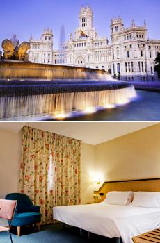 En haut : Plaza de Cibeles<br>En bas : chambre double Hotel Praga