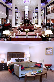 Top: Hotel lobby<br>Bottom: Executive Room
