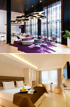 Top: Lobby<br>Bottom: Deluxe Double Room