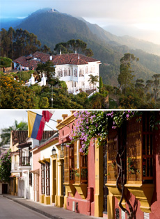 Top: Monserrate Hill in Bogota<br>Bottom: Old City, Cartagena