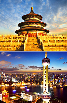 Top: Temple of Heaven<br>Bottom: Oriental Pearl Tower