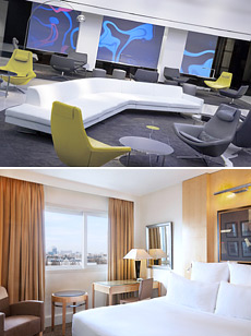 Top: Lobby<br>Bottom: Deluxe room