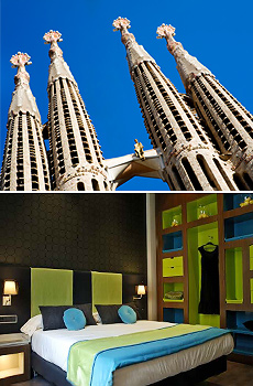 Top: La Segrada Familia<br>Bottom: 987 Barcelona Hotel